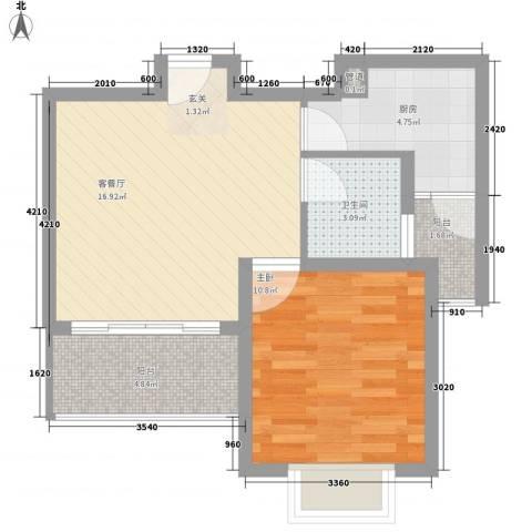 清林闲庭1室1厅1卫1厨49.19㎡户型图