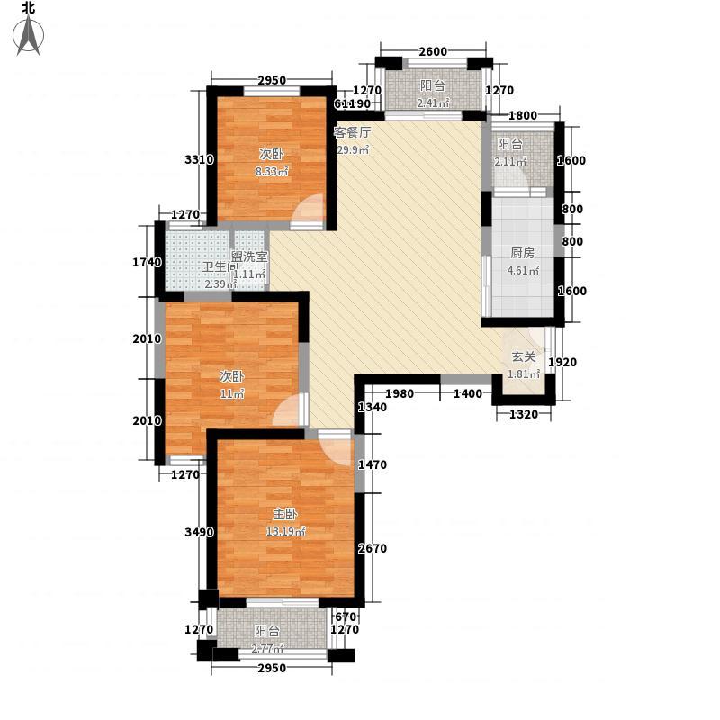 康桥溪山御府114.00㎡B4户型3室2厅1卫1厨