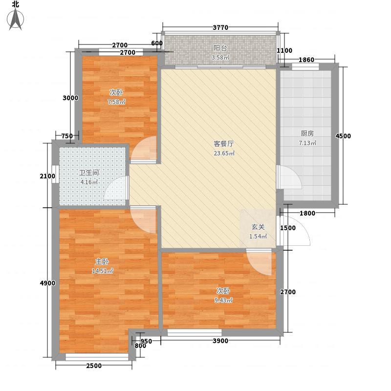 公元南湖12.00㎡A1-1户型3室1厅1卫1厨