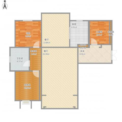 首钢首御2室2厅1卫1厨135.00㎡户型图