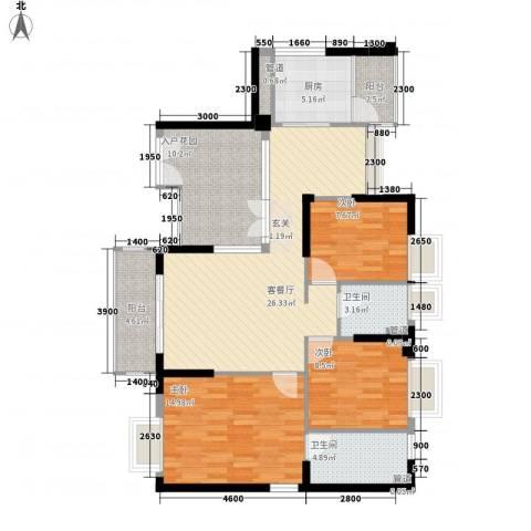 天林湖花园3室1厅2卫1厨127.00㎡户型图