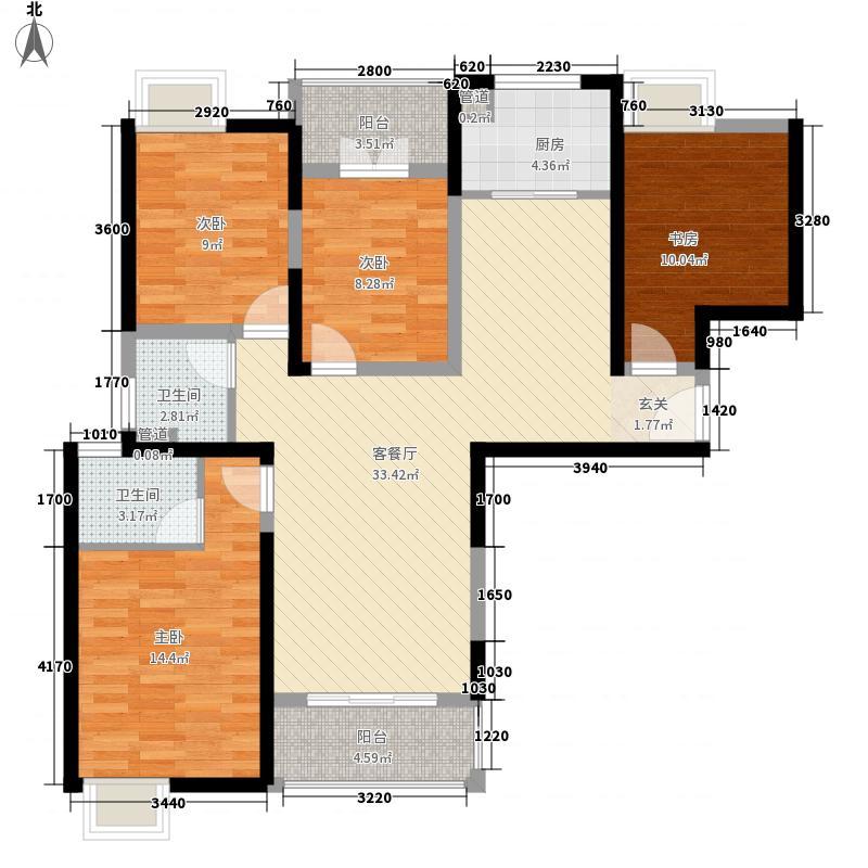 上品新天地136.00㎡7、9、10号楼F2户型4室2厅2卫1厨