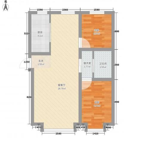 优族联盟2室2厅1卫1厨72.00㎡户型图