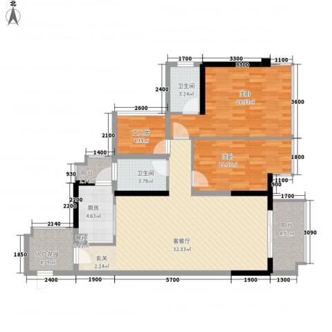 盛天公馆2室1厅2卫1厨124.00㎡户型图