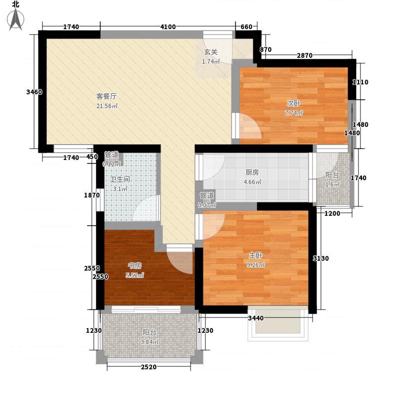 上品新天地85.00㎡3、6、7号楼D2户型3室2厅1卫1厨