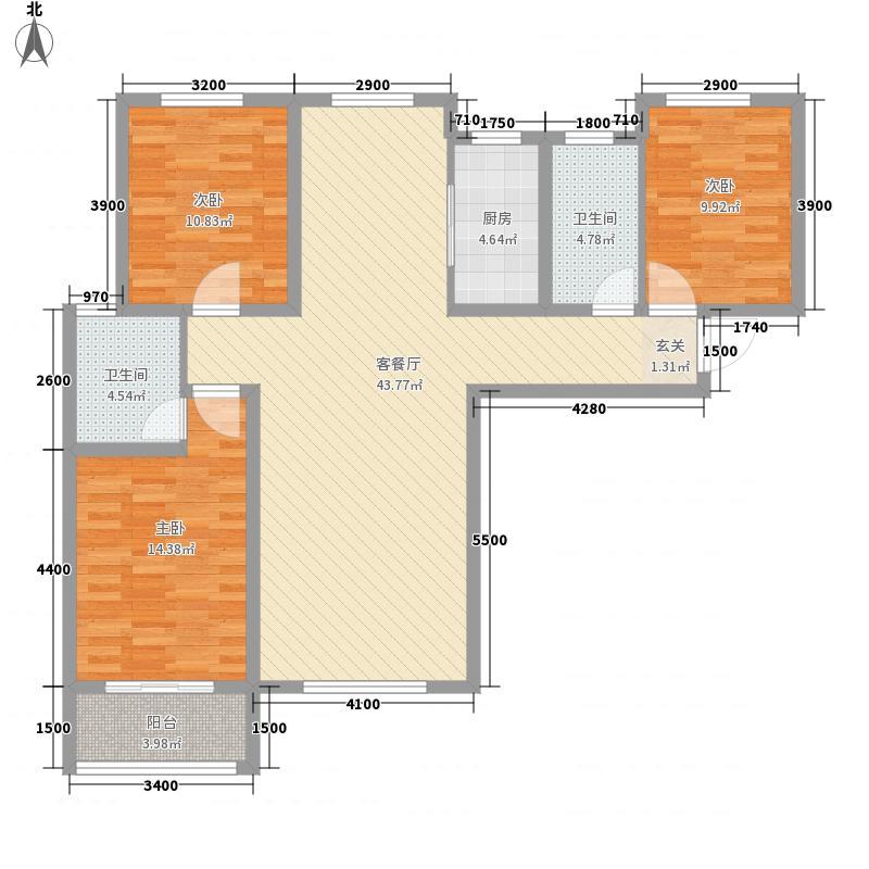 观澜新城3室1厅2卫1厨96.84㎡户型图