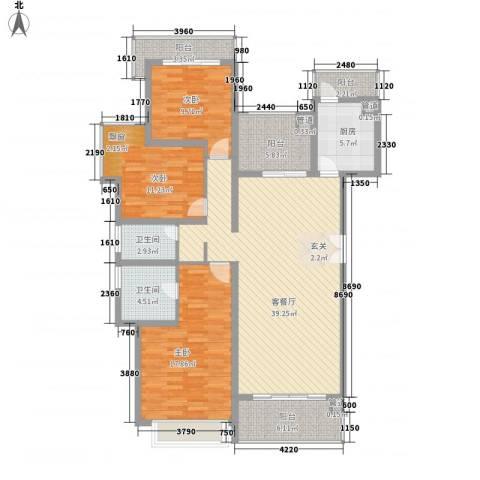 长城世家3室1厅2卫1厨157.00㎡户型图