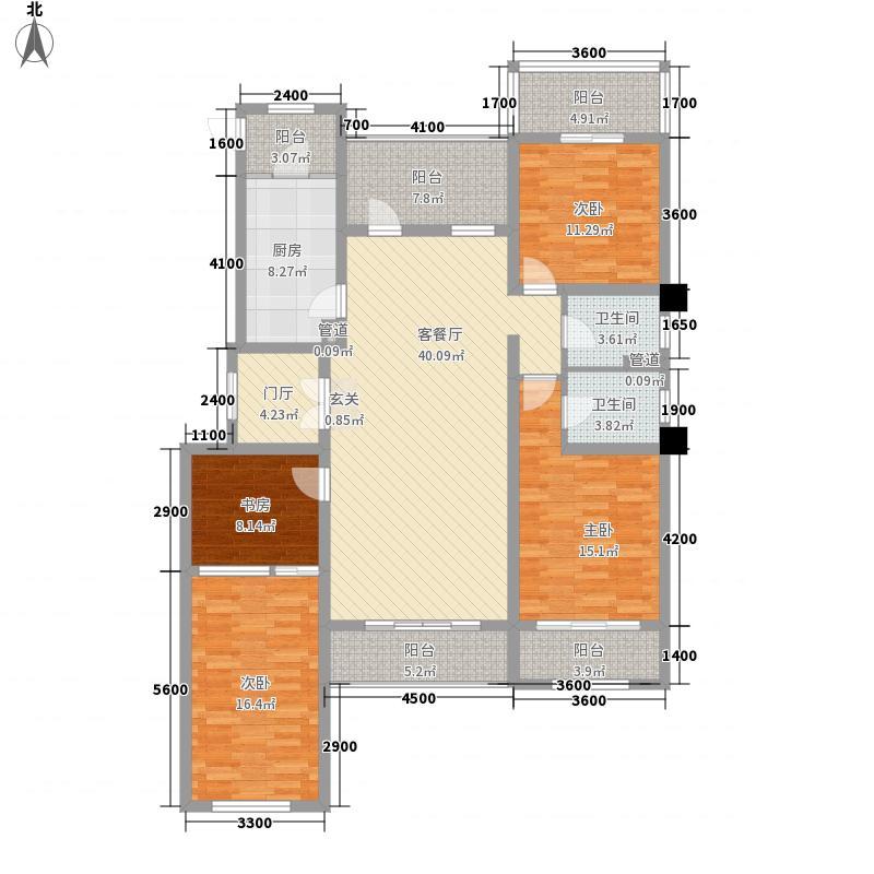 中铁诺德龙湾4室1厅2卫1厨136.00㎡户型图