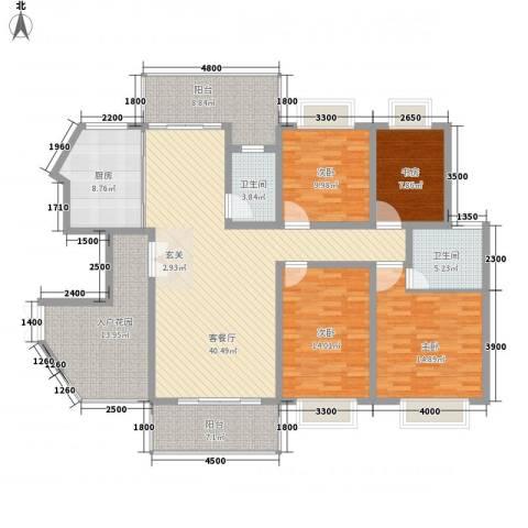 龙潭春天商住楼4室1厅2卫1厨152.00㎡户型图