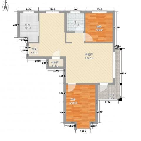 丹田2室1厅1卫1厨95.00㎡户型图