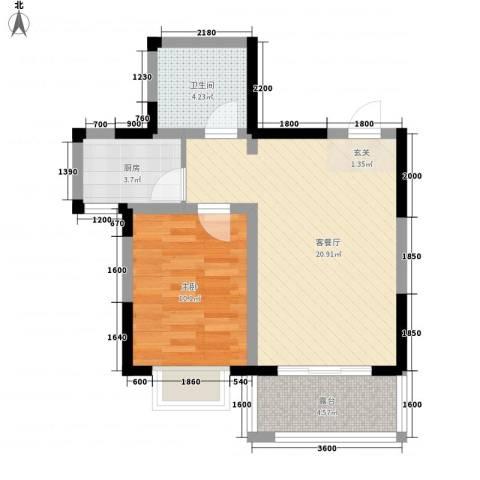 芳清苑1室1厅1卫1厨58.00㎡户型图