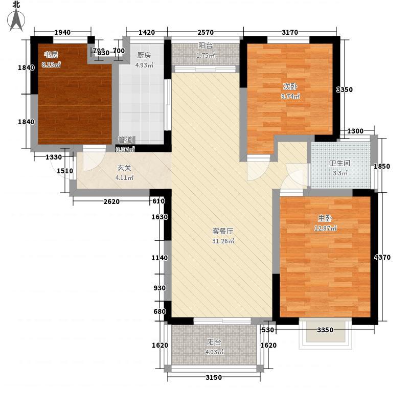 郑东新世界111.00㎡三期F1户型3室2厅1卫