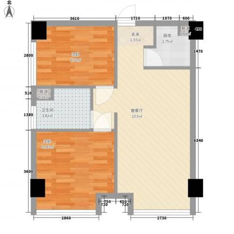 三和嘉园2室1厅1卫1厨71.00㎡户型图