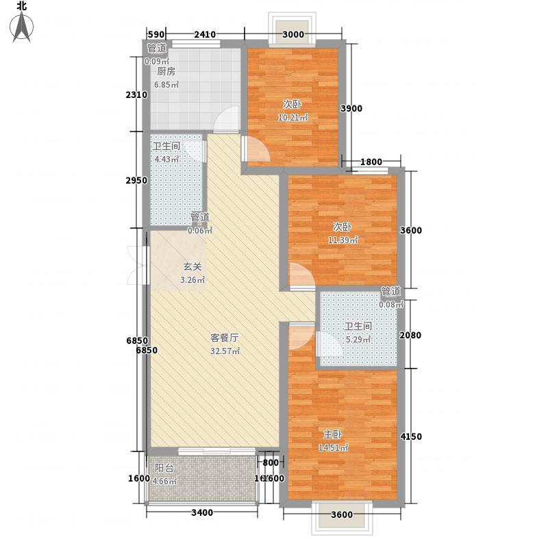 阳光银座131.00㎡A座C1户型3室2厅2卫1厨
