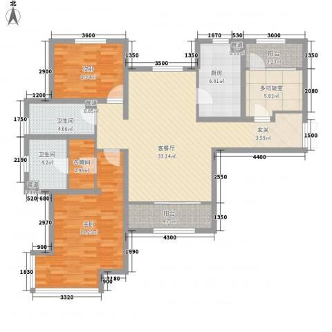 五矿榕园旷世公馆2室1厅2卫1厨134.00㎡户型图