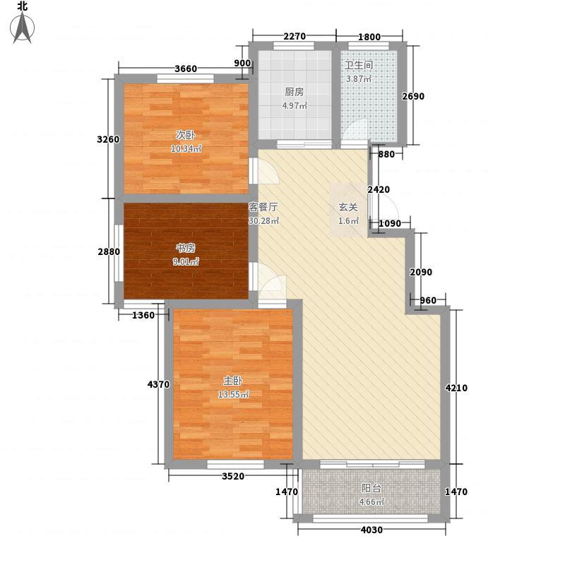 至尊门第1.34㎡一期小高层H户型3室2厅1卫1厨