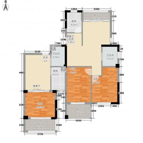 姚江公馆3室2厅2卫2厨141.00㎡户型图