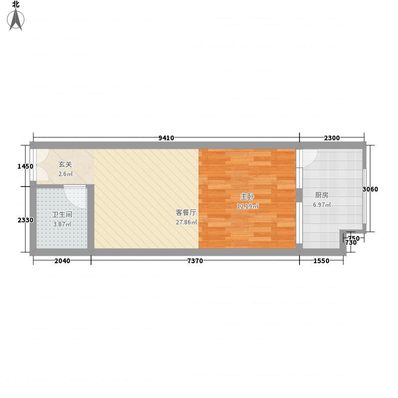 东方骏景53.45㎡一期2号楼W户型1室1厅1卫1厨