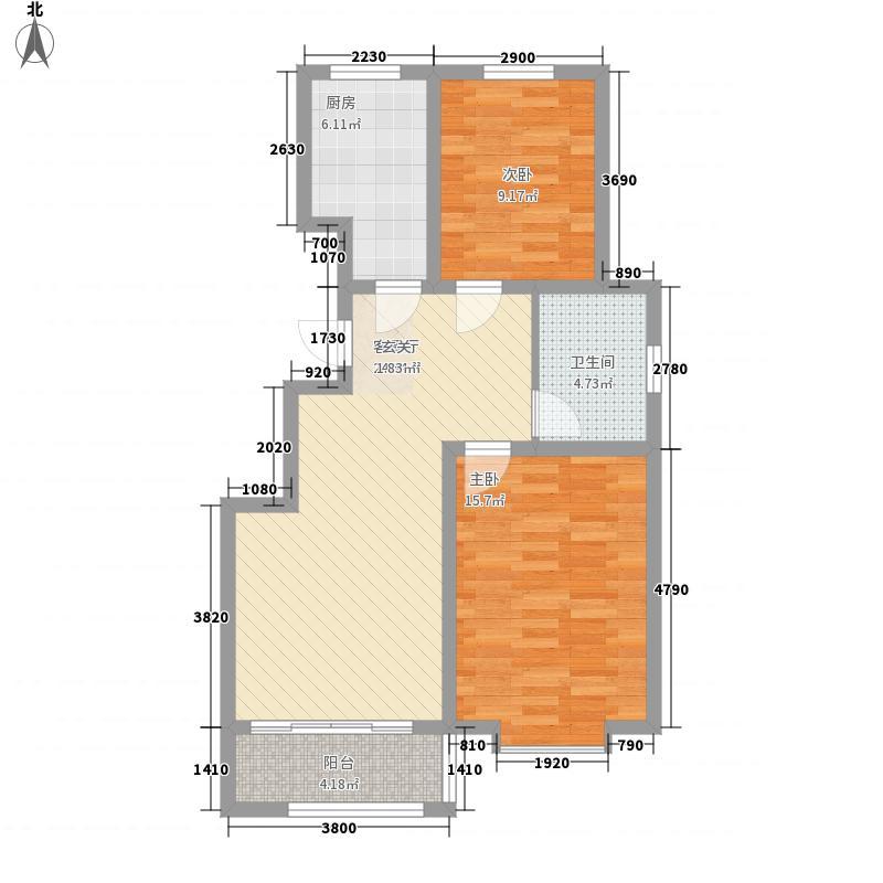 至尊门第3.48㎡一期小高层E户型2室2厅1卫1厨