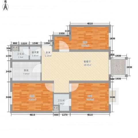 江南春晓3室2厅2卫1厨127.00㎡户型图