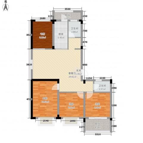 格林春天・野花园二期4室1厅2卫1厨126.00㎡户型图