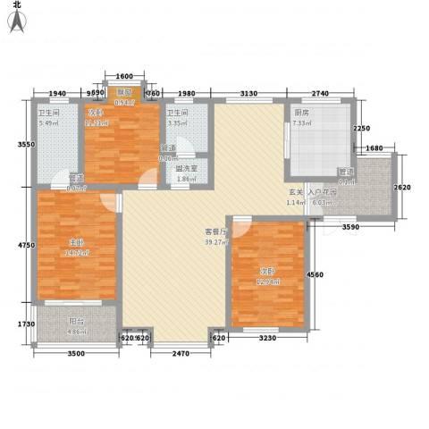 铭城16号3室1厅2卫1厨151.00㎡户型图
