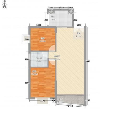 超达家园2室1厅1卫1厨90.00㎡户型图