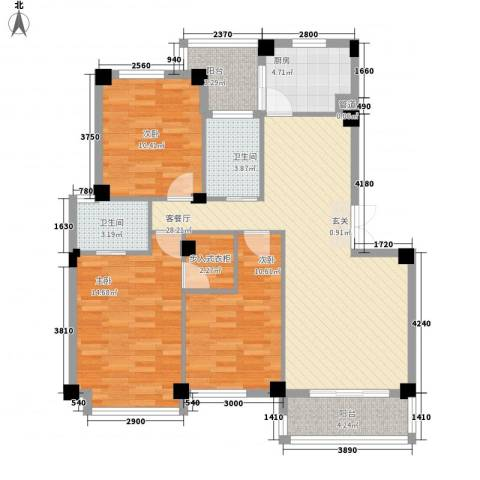 雅戈尔东湖馨园3室1厅2卫1厨123.00㎡户型图