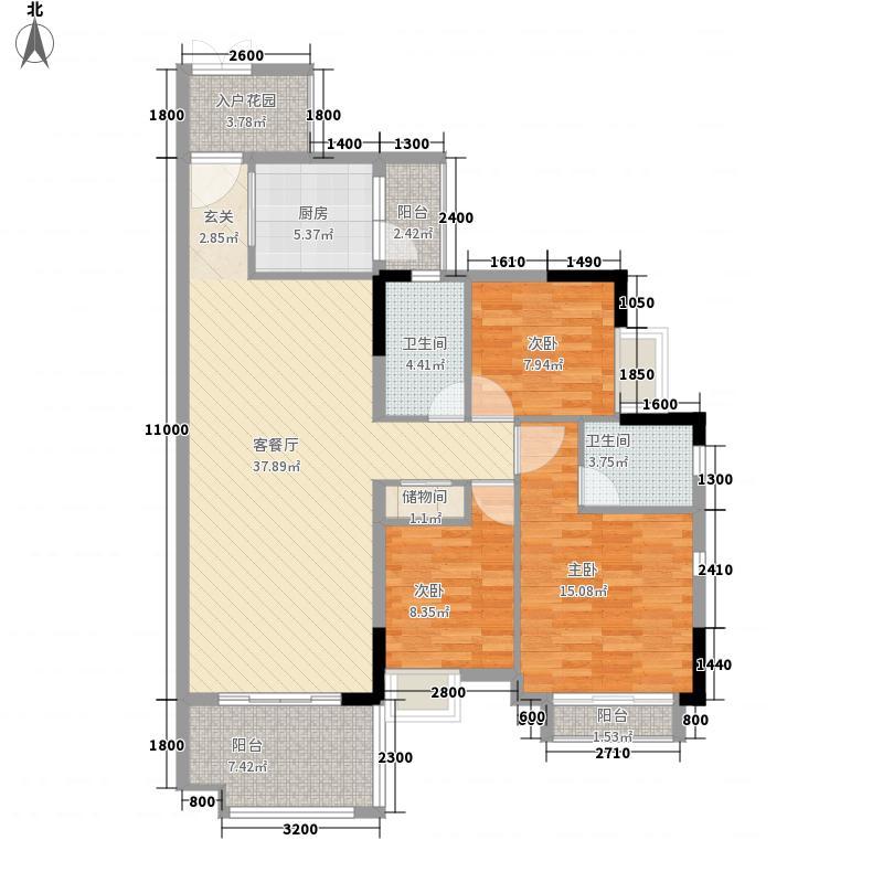 恒宇・麓湖12.42㎡惬意户型3室2厅2卫