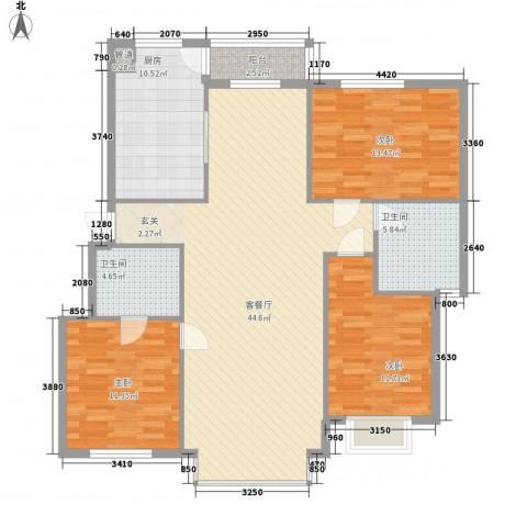 兰溪文苑3室1厅2卫1厨146.00㎡户型图
