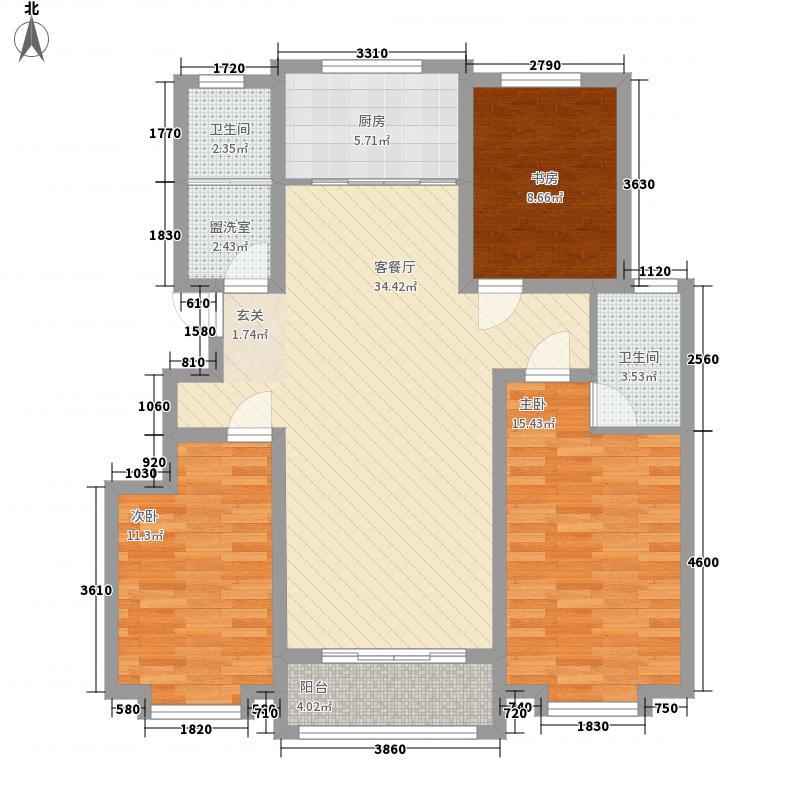 至尊门第125.77㎡一期小高层D户型3室2厅2卫1厨
