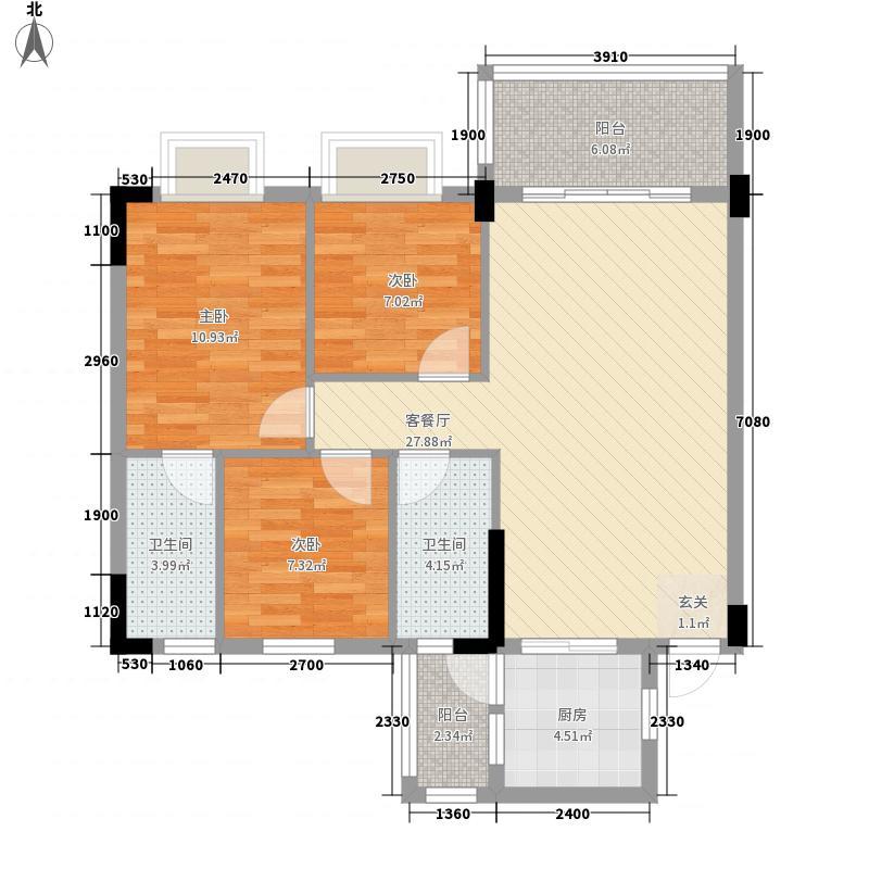 银丰花园8.22㎡40座-43座01单元2-11层户型3室2厅