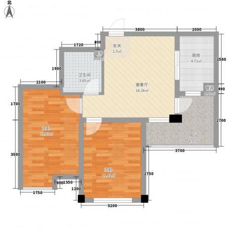 丹田2室1厅1卫1厨81.00㎡户型图