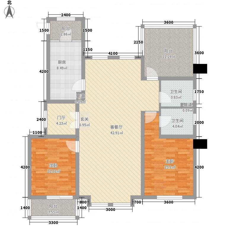 中铁诺德龙湾2室1厅2卫1厨125.00㎡户型图