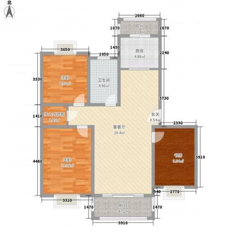 吉利名苑3室1厅1卫1厨113.00㎡户型图