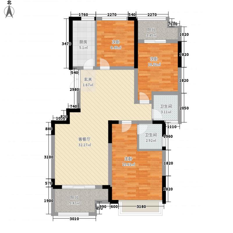 正商金域世家3室1厅2卫1厨125.00㎡户型图