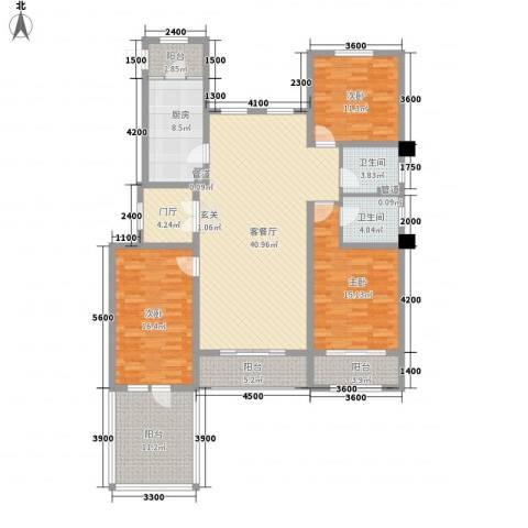 中铁诺德龙湾3室1厅2卫1厨151.00㎡户型图