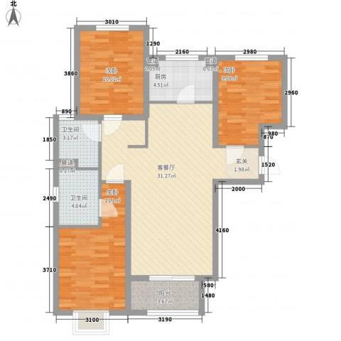 乡村花园双湖美墅3室1厅2卫1厨112.00㎡户型图