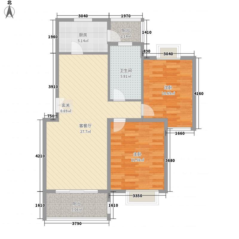 绿地金色水岸96.80㎡绿地金色水岸2室2厅1卫1厨户型2室2厅1卫1厨