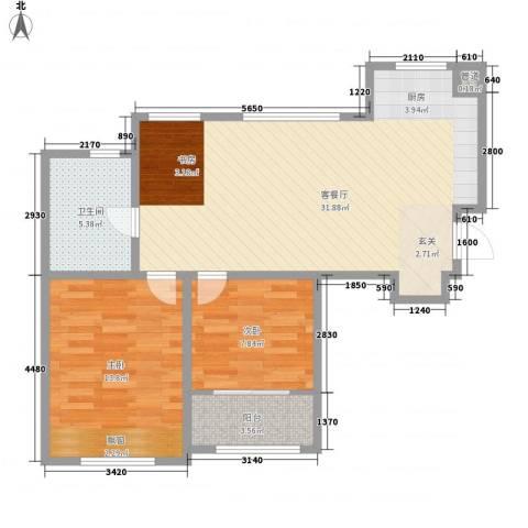 海信天山郡2室1厅1卫0厨87.00㎡户型图