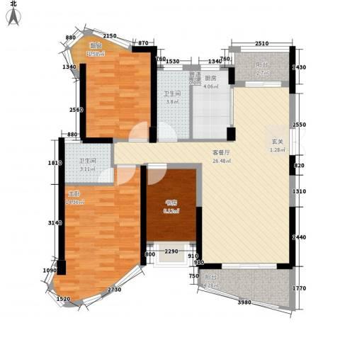 南昌铜锣湾广场3室1厅2卫1厨110.00㎡户型图
