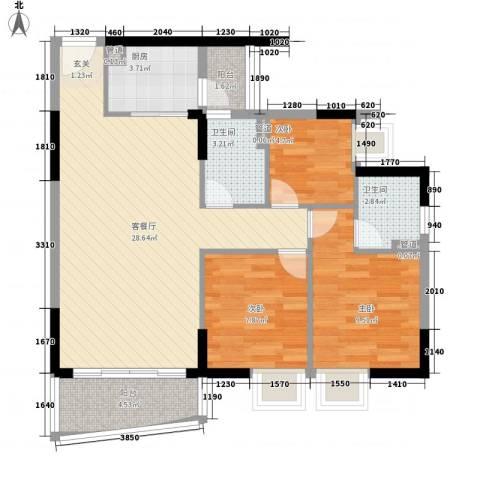 海富花园三期3室1厅2卫1厨96.00㎡户型图