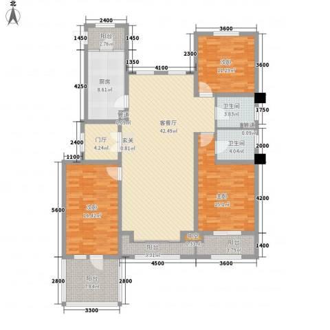 中铁诺德龙湾3室1厅2卫1厨124.23㎡户型图