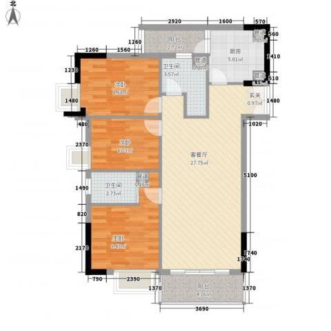 海悦大厦3室1厅2卫1厨102.00㎡户型图