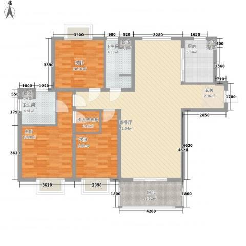 乡村花园双湖美墅3室1厅2卫1厨141.00㎡户型图
