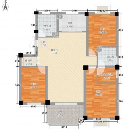 北辰半岛花园3室1厅2卫1厨128.00㎡户型图