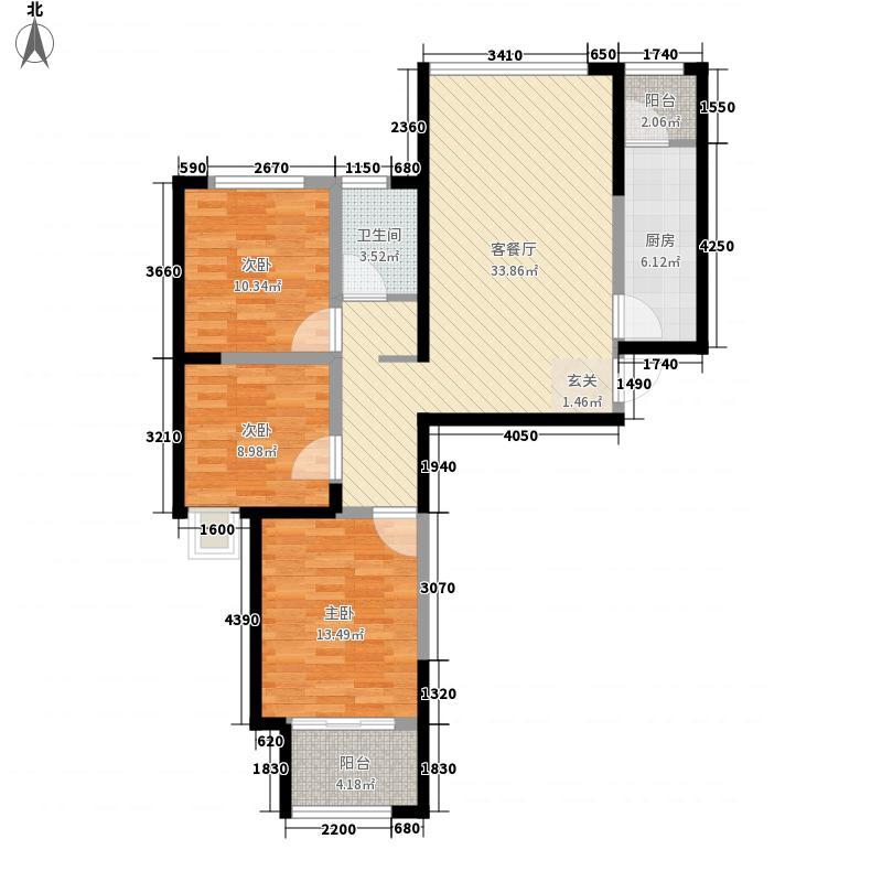 正商金域世家3室1厅1卫1厨119.00㎡户型图