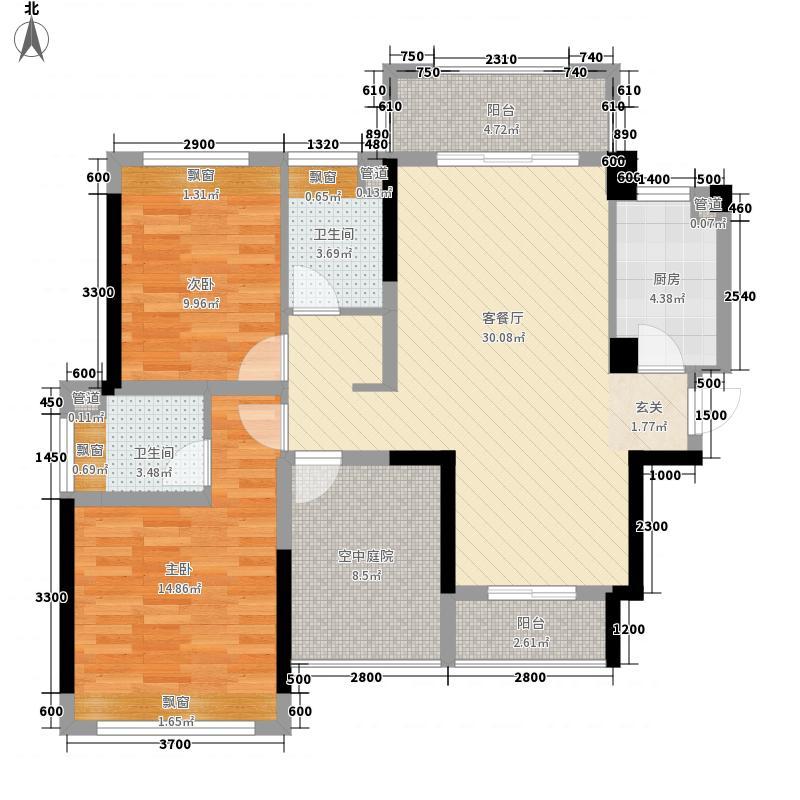 金地・仟百汇2室1厅2卫1厨82.68㎡户型图