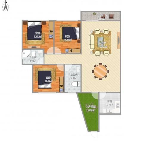 锦绣江南四期3室1厅2卫1厨141.00㎡户型图