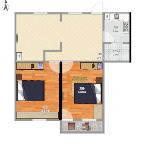湖滨一里小区2室1厅1卫1厨69.00㎡户型图